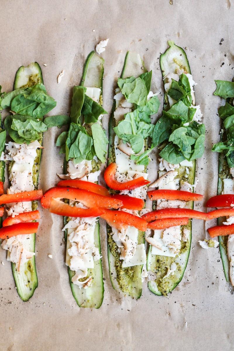 Gurken-und Ziegenkäse-Rolle-Low Carb Pesto & Türkei Gurke Roll Ups