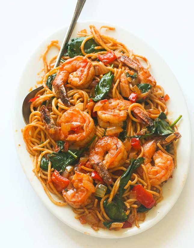 Tomaten Spinat Shrimp Pasta