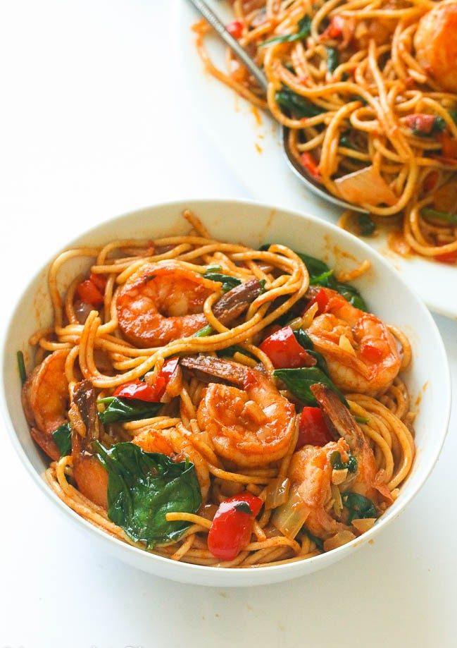 Tomaten Spinat Shrimp Pasta